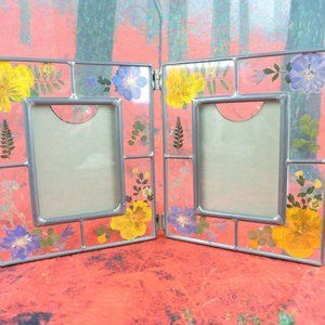 Other - VTG Leaded Glass Folding Frame Pressed Flowers